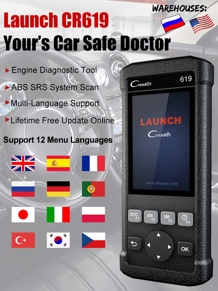 OBD2 Scanner Code-Reader ODB2 Engine Free-Update Launch Cr619 Multi-Language SRS ABS
