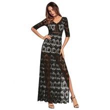 فستان طويل و أنيق من الدانتيل المطرز بفتحة عنق مثيرة