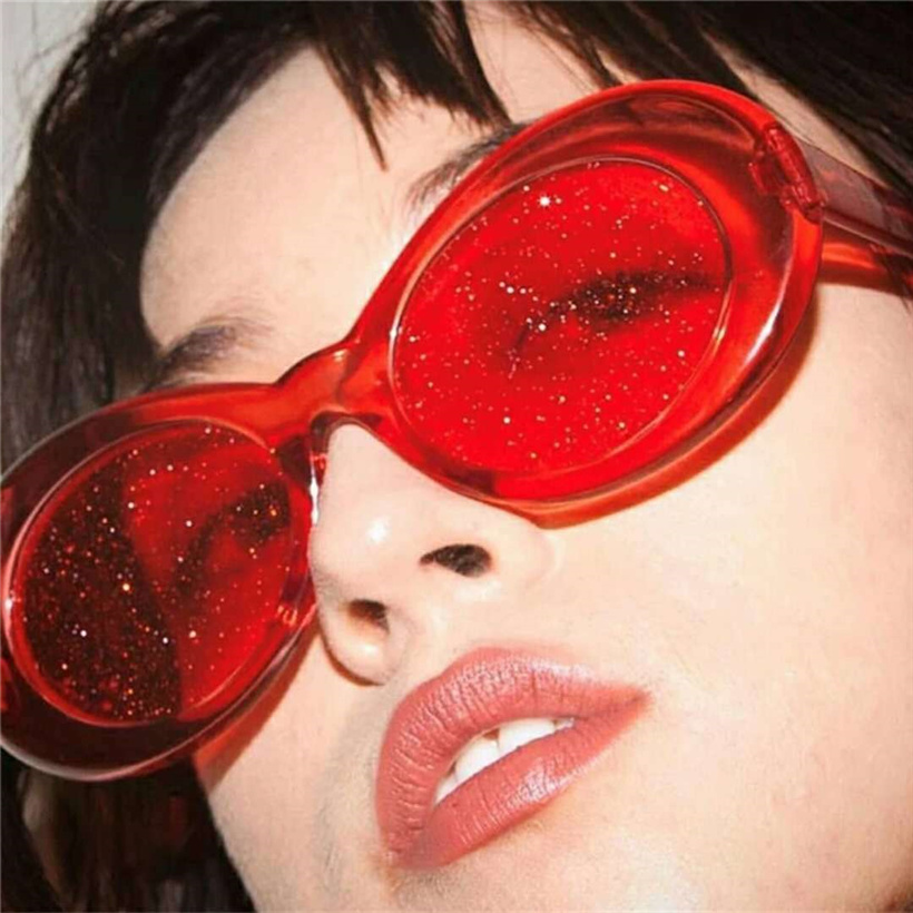 Oulylan Vintage Clout Goggles Sunglasses Men Women Retro Tint NIRVANA Kurt Cobain Sun Glasses Ladies Clear Small Oval Glasses