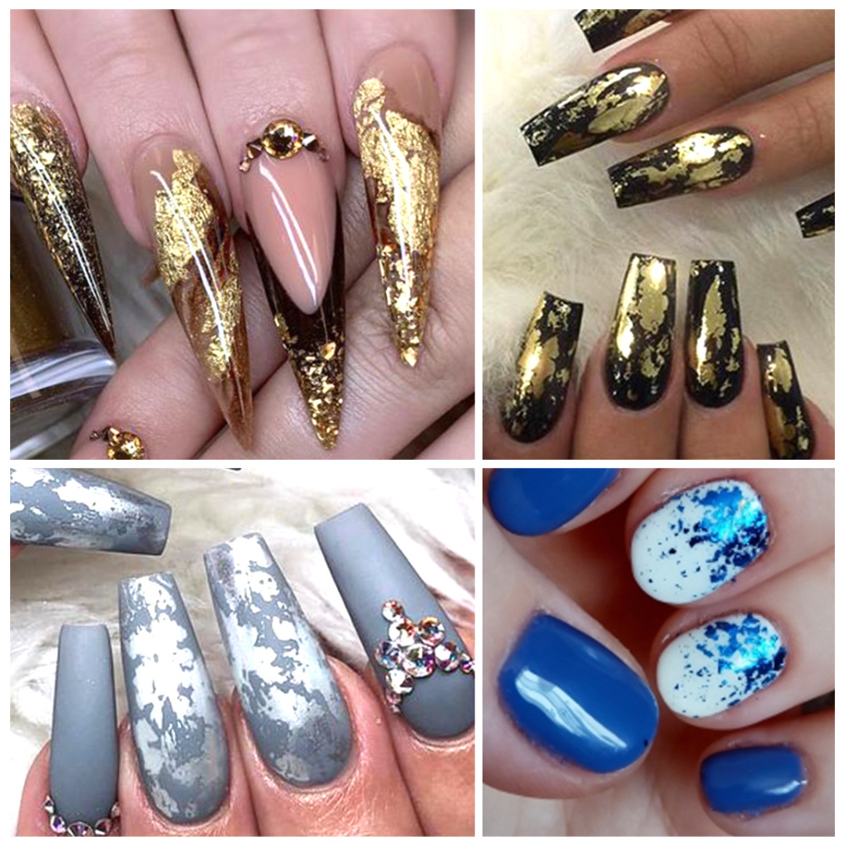 Image 3 - 12 Grid Broken Paillette Nail Glitter Irregular Mirror Nail Flakes Sequins Holographic Powder Nail Decoration Gel Polish CH950 1-in Nail Glitter from Beauty & Health