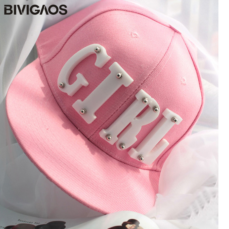 62a08dea6c8 New Fashion Summer Trend Women s Acrylic GIRL Letters Rivet Cap Flat Brim  Hat Hip hop Hats Baseball Caps For Men Women Female-in Baseball Caps from  Apparel ...