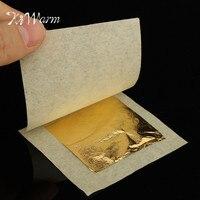 KiWarm Praktische 50 Stks 24 K Echt Eetbare Goudfolie Leaf voor Koken Eten Cake Decor Art Werk Vergulden Gezicht Beauty 4.33X4.33 cm