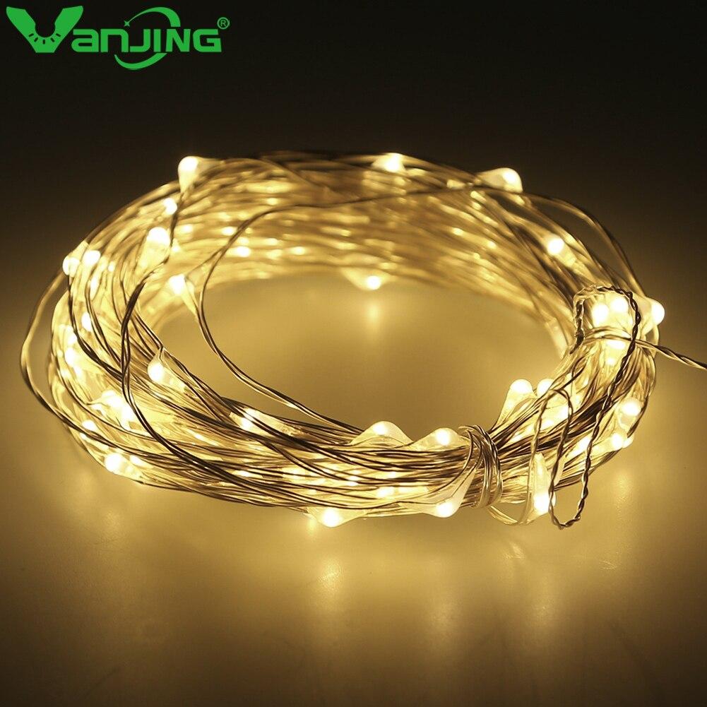 10M 100LED Christmas Fairy Lights Silver Wire LED Starry Lights DC 12V LED String Light for