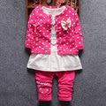 2017 Primavera Outono menina roupas longo-sleeved terno do bebê para o infante do bebê meninas roupa roupas de design da marca terno dos esportes 3 pcs conjuntos