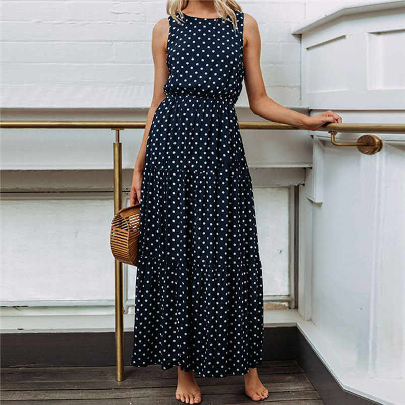 HOT summer dress 2019 beach dress Women Ladies Dot Printing Round Neck Sleeveless Evening Party Long Dress vestidos robe J08