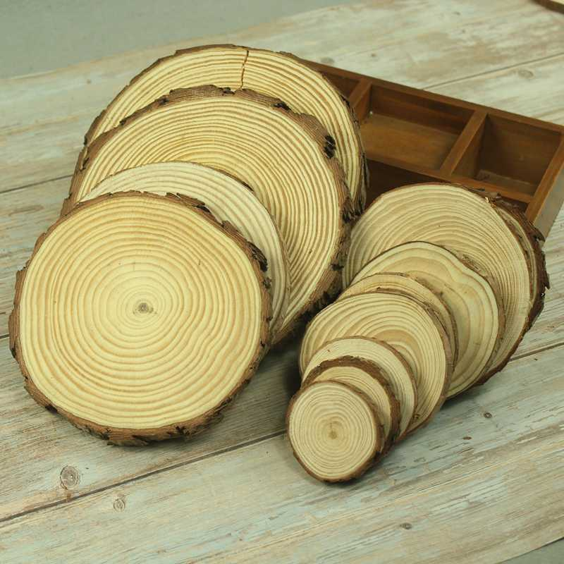 1pc Diy Wooden Crafts Log Sheet Vintage Wood Wedding Table Decoration Centerpieces Diy Handcraft Wood Tag Rustic Wedding Decor