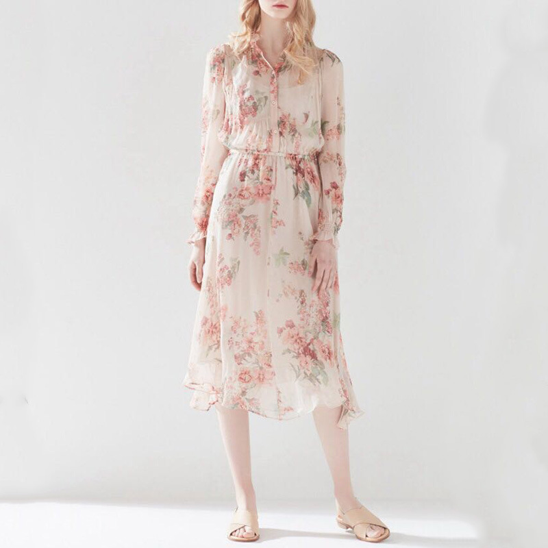 2018 Summer Women Elegant Floral Chiffon Lady Dress Long Sleeve Elastic Waist See through Two Pieces Set Party Runway Dresses