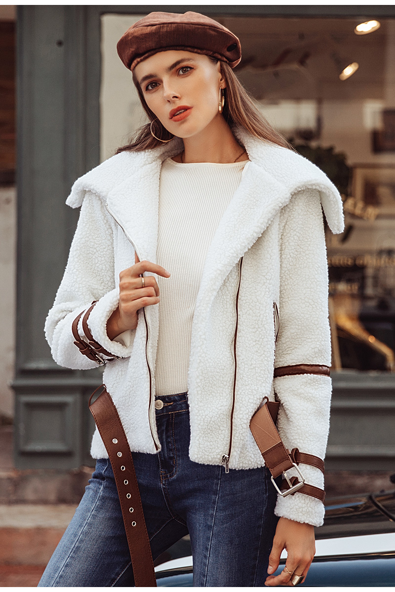 Simplee Turndown collar zipper winter women coat parka Sash shaggy white thick warm outerwear Winter down jacket streetwear 6