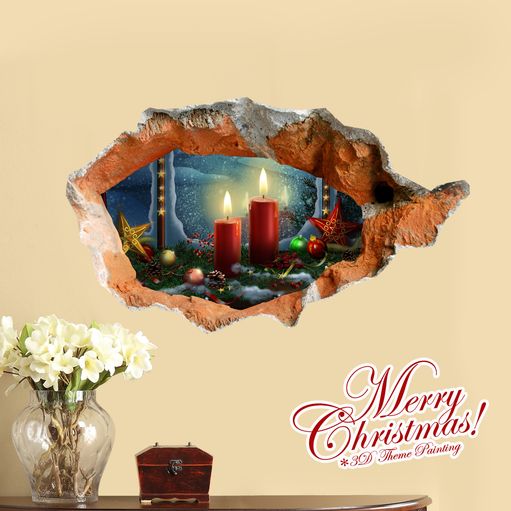 Removable Candles Christmas Decoration Wall Stickers Home Decor ...