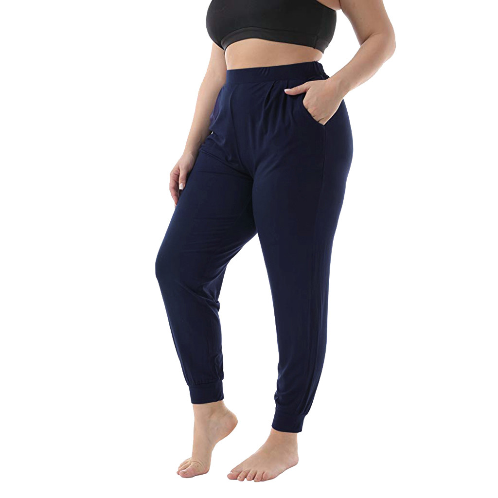 2019 Hot Selling Pants Women's Plus Size 5XL Casual Solid Pocket Stretch Beam Casual Long Paragraph Casual Pants брюки Wholesale