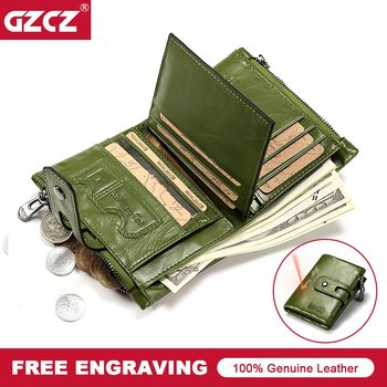 Short Wallets Genuine Leather Women Men Wallet New Fashion Coin Purse Zipper&Hasp Design Brand With Card Holder Pocket Green Red leather