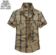 купить Plus Size 4XL 100% Cotton Chemise Homme Original Brand Clothing Men Chemise Homme Plaid Outdoor Sports NIANJEEP Shirts military дешево