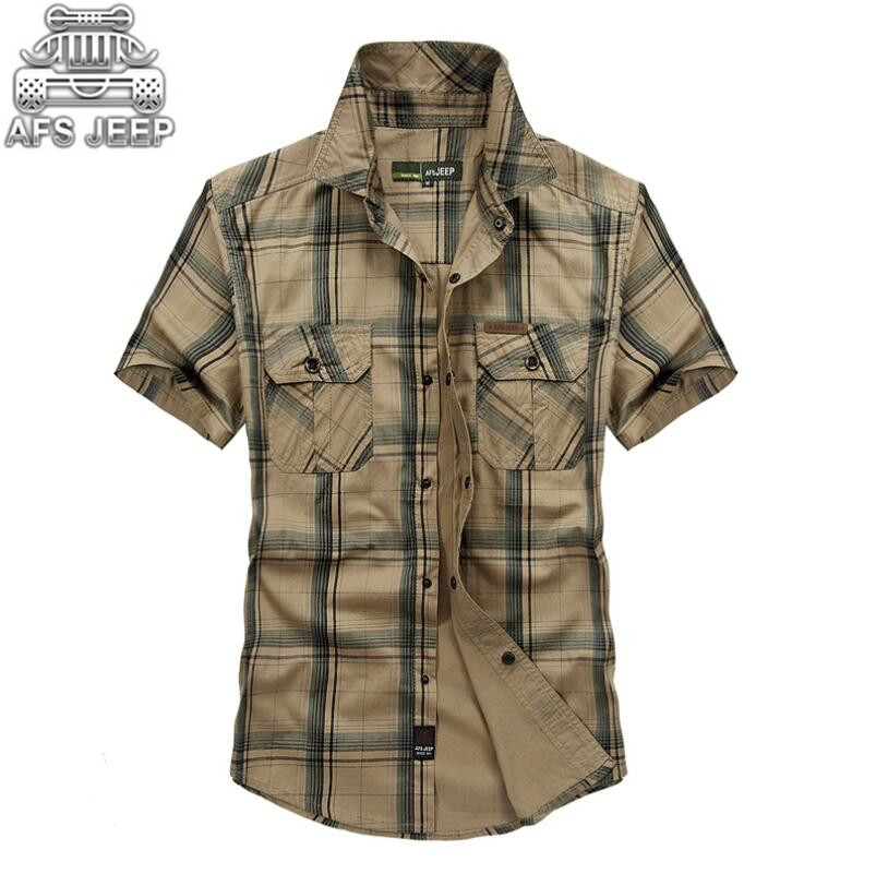 Plus Size 5XL 100% Cotton Chemise Homme Original Brand Clothing Men Chemise Homme Plaid AFS JEEP Shirts Cargo military