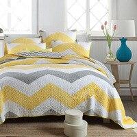 Aquesub conjunto colcha listrado de algodão  conjunto de 3 peças de cobertores para cama king size colchoados