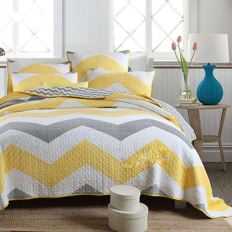 CHAUSUBที่ทำด้วยมือชุดผ้านวมเย็บปะติดปะต่อกัน3ชิ้นล้างผ้าฝ้ายผ้าห่มผ้าคลุมเตียงเตียงปกเตียงขนาดคิงไซส์ผ้าคลุมเตียงสีเหลือง-ใน ผ้าคลุมเตียง จาก บ้านและสวน บน   1