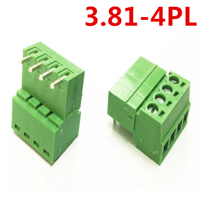 10sets 4 Pin PCB Electrical 15EDG-3.81mm Pitch Right Angle Terminal plug Green terminal block connector pin header and socket