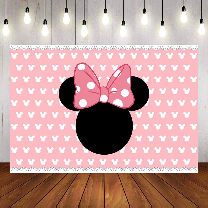 Photography Background Birthday Party Pink White Party Banner Minnie Decorations Backdrop Decor Photocall Backdrop Photo Studio-in Background from Consumer Electronics