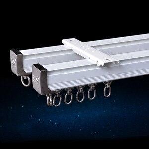 Image 3 - Алюминиевый сплав карниз для штор, Потолочная боковая установка, один прочный тройной аксессуар, размер по заказу