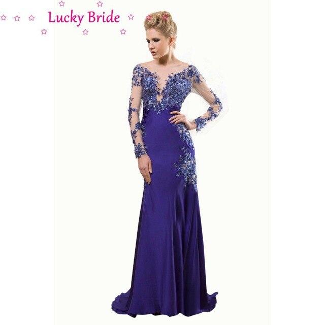 Low Cut Back Party Dress Royal Blue Mermaid Lace Evening Dresses ...