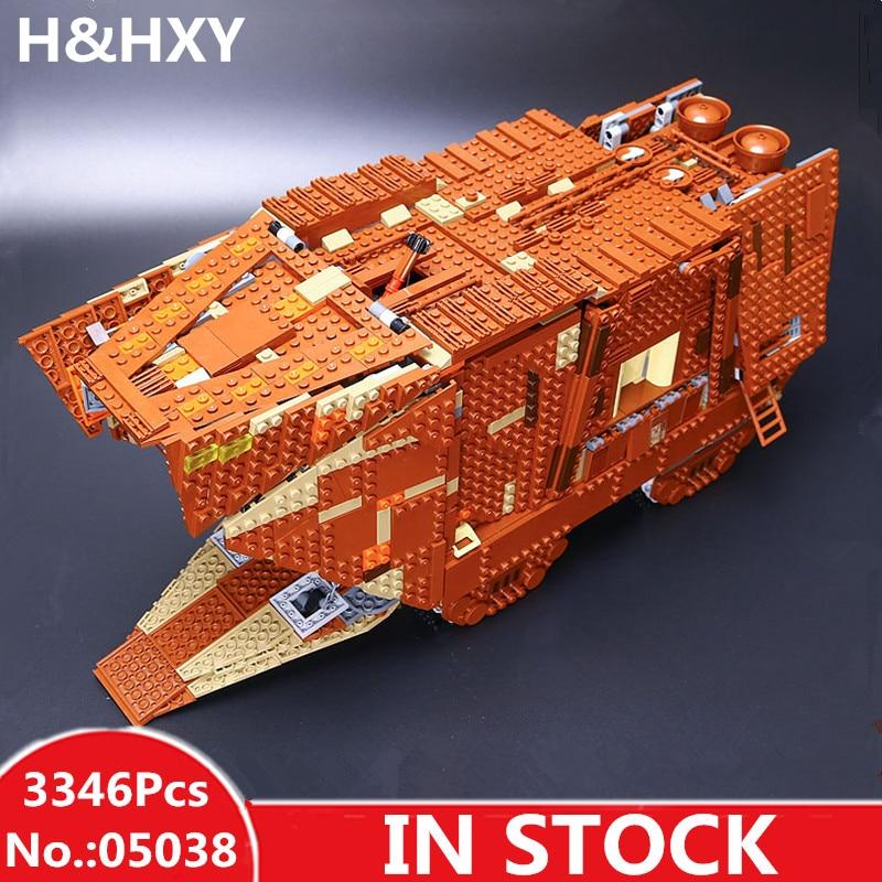 H&HXY IN STOCK 05038 3346Pcs Star Force Awakens Sandcrawler wars lepin Model Building Kit Blocks Brick DIY Christmas Toys 75059 ваза луговые маки