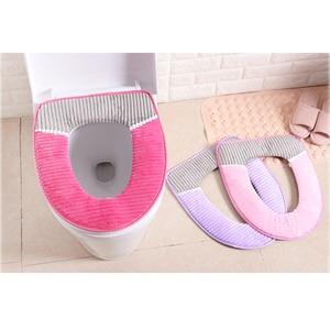 Image 2 - 38 cm X 43 cm velours cuir lavable doux coussin de toilette tapis de toilette épais tricoté accessoires de salle de bain Standard housse de siège de toilette