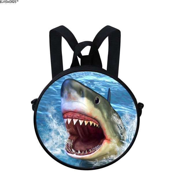 ELVISWORDS Boys Fashion Round Bags Multifunction Children Beautiful  Shoulder Bag 3D Shark Painting Kids Backpack Young Boy Bag