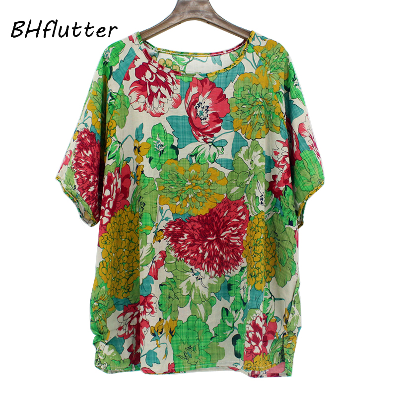 BHflutter Summer Tops for Women 2019 Batwing Casual Kimono   Blouses   Floral Print Cotton Linen Boho   Blouse     Shirt   Plus Size Blusas