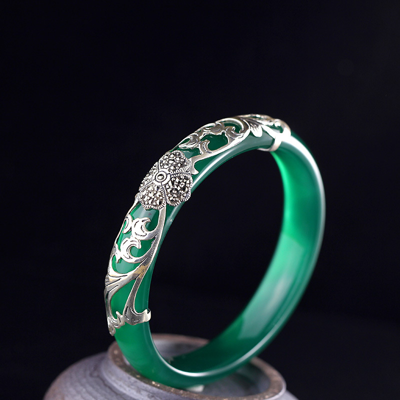 2018 Limited Real No Bangle Items S925 Pure Ornaments Of Classic Thai Ms Chrysoprase Clovers Bracelet Hand Act The Role Ofing 2018 limited hot sale no bangle ms character items s925 pure ornaments ethnic atmosphere wind lotus pomegranate bracelet wang
