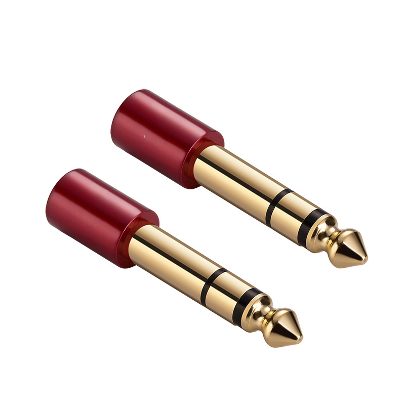 """WinAqum Gold plated 6.35mm 1/4"""" inch Jack Plug to 3.5mm 1/8"""" Audio Converter Adapter T-332 315 Red M/F for Mic Earphone Keyboard"""