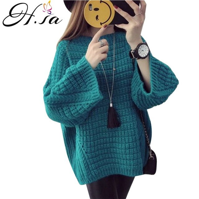 H.SA New Brand Women Winter Sweater and Pullover Jumpers Oneck Loose Style Oversized Pull Femme Korean Christmas Pullover Winter