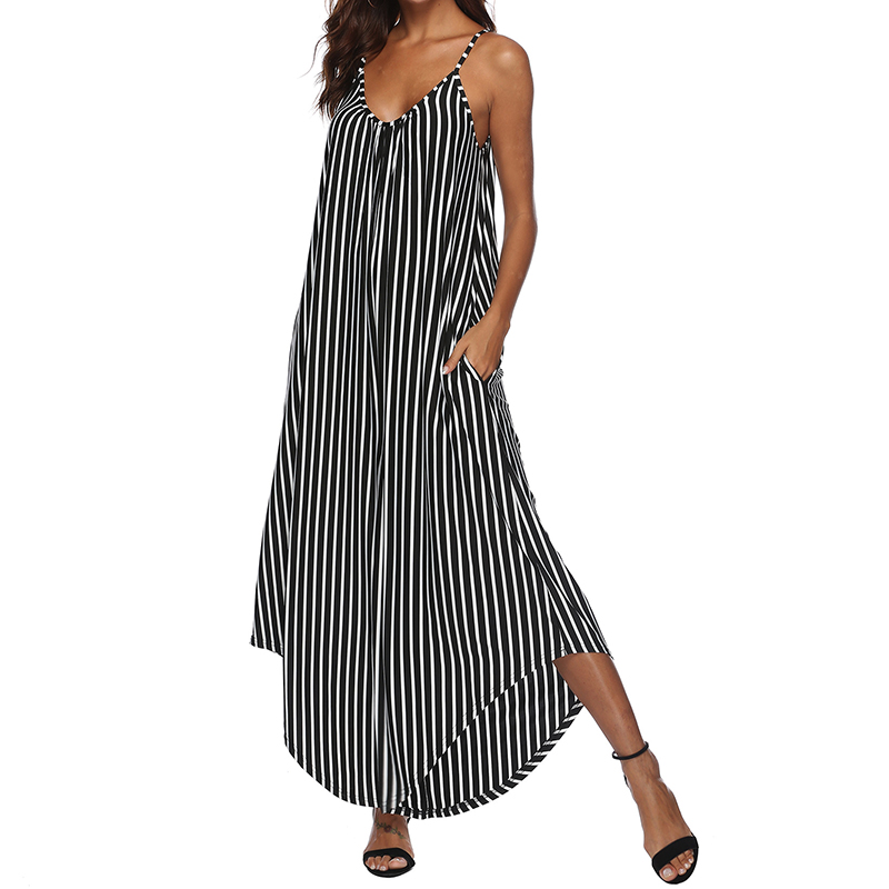 2019 ZANZEA Women Striped   Jumpsuits   Strappy V Neck Playsuits Loose Casual Beach Rompers Summer Female Overalls Wide Leg Pants