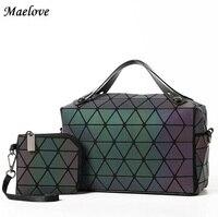 Maelove baobao bag Women luminous bag Quilted Geometry Shoulder Bags Laser Plain Folding Handbags matte color Free Shipping
