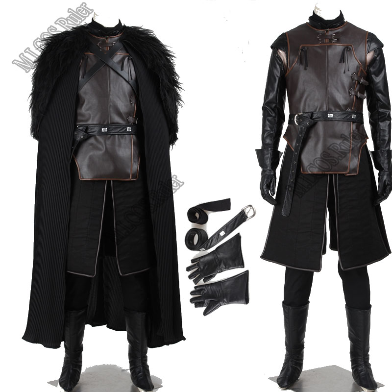 Exclusive Game of Thrones Jon Snow Cosplay Costume Full Suit Cos Accessories Hallowmas Customized