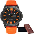 Naviforce 2016 hombres reloj militar reloj de los hombres fecha de cuarzo reloj de pulsera deportivo de lujo reloj de la marca de los hombres de nylon ocasional reloj 9066