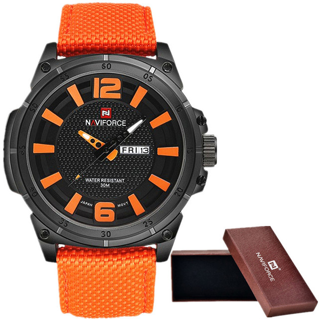 Naviforce luxo 2016 dos homens relógio militar homens relógio de quartzo relógio de pulso sports data relógio homens casuais da marca de relógio de nylon 9066