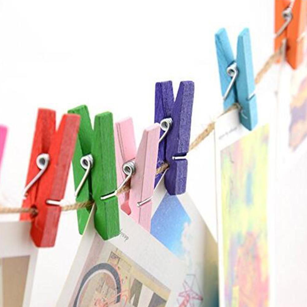 100pcs 35mm Mini Wooden Clothes Peg Craft Paper Clips For Wedding Decoration