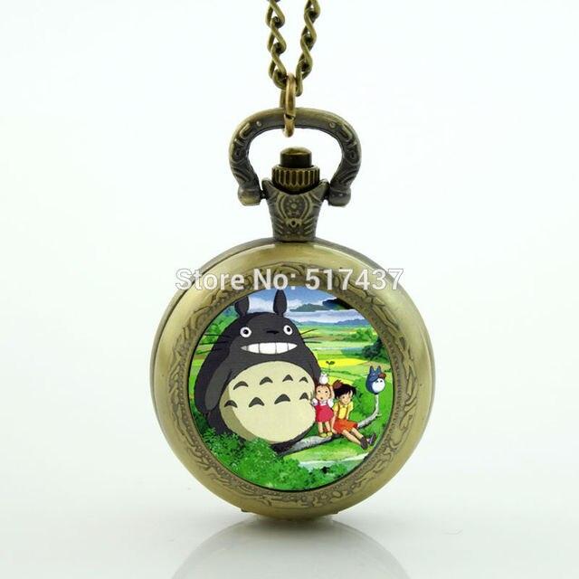جيبلي هاياو ميازاكي أنيمي ساعة جيب الزجاج المنجد قلادة ساعة جيب قلادة