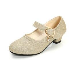 ULKNN 2019 Girls high-heeled shoes springautumn new crystal dance shoes princess show little girls show shoes