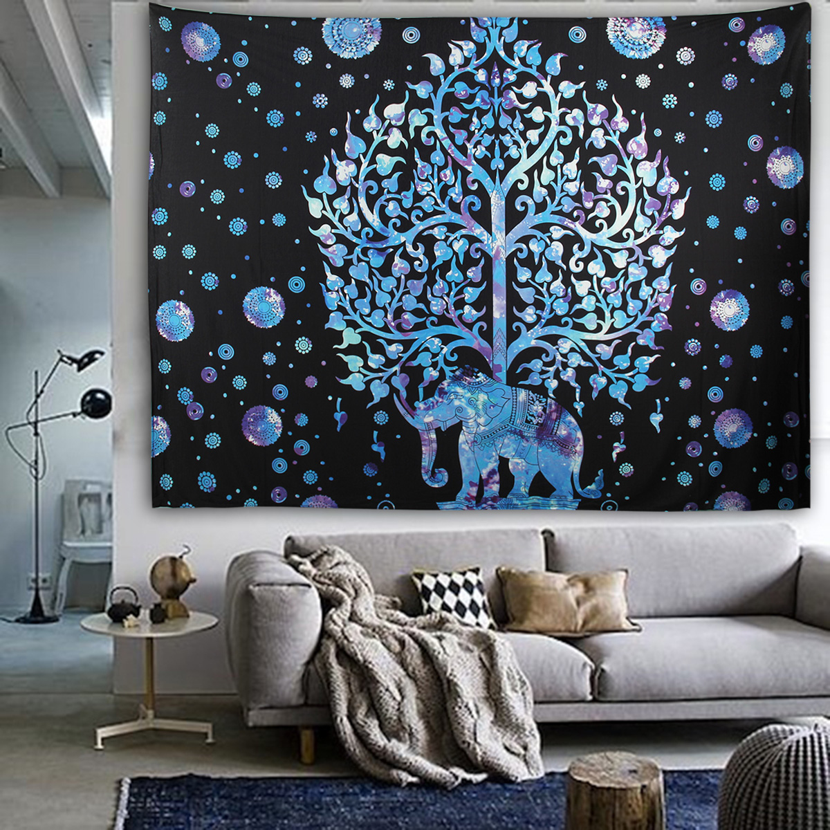 Elephant Mandala Tapestry Throw Towel Hippie Tapestry Floral Printed Home Decor Wall Tapestries Bedspread 210*150CM 23
