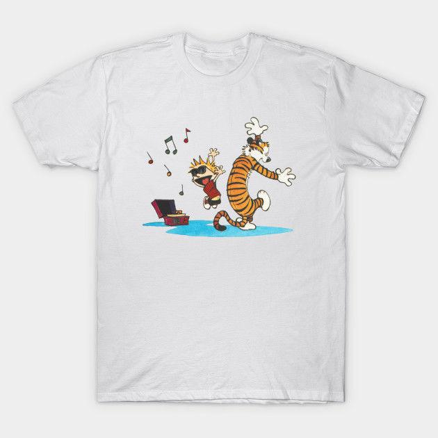 Calvin and hobbes Dance and Happy T-Shirt Tees Clothing  harajuku Summer 2019 tshirt funny 100% Cotton t shirt