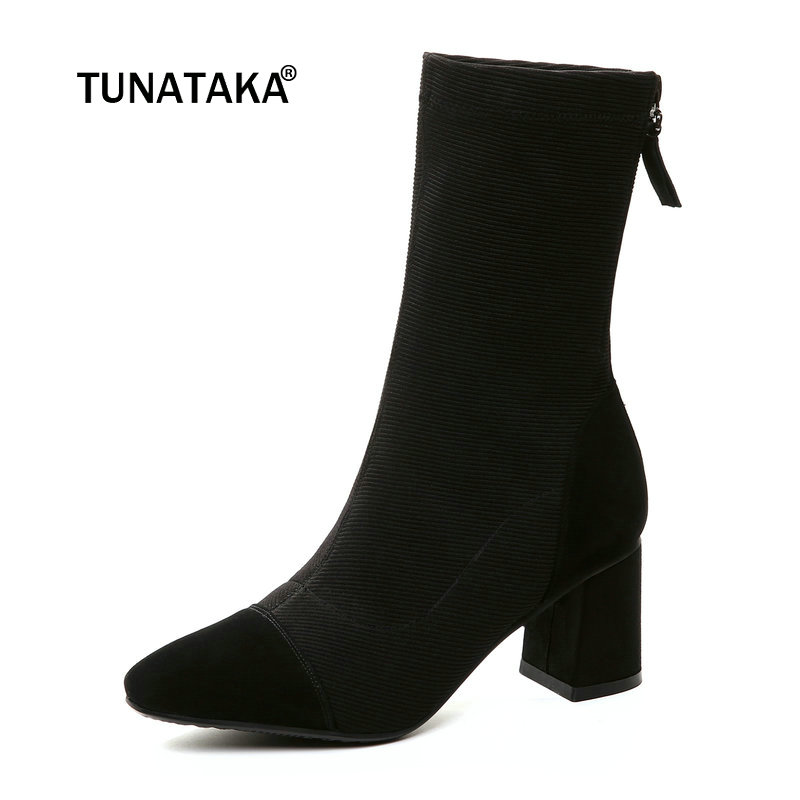Women Suede Comfort Square Heel Ankle Boots Fashion Round Toe Zipper Fall Winter Bootie Black