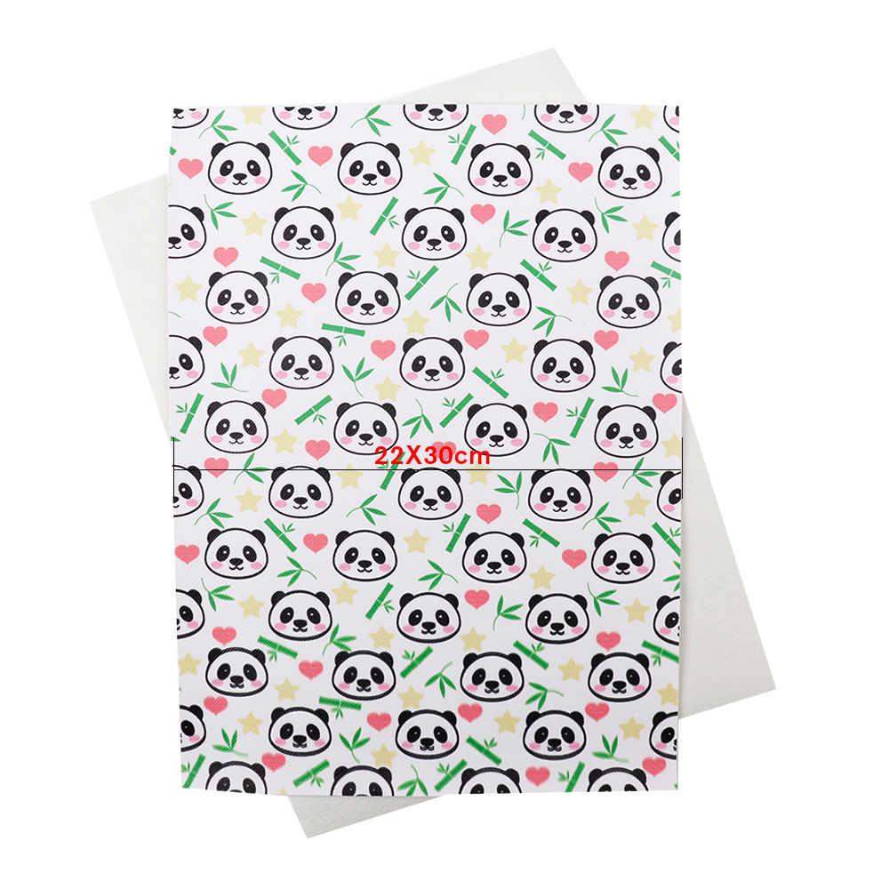 JOJO łuki 22*30cm 1pc Faux skóry syntetycznej tkaniny do szycia sowa Panda drukowane arkusze DIY do włosów łuk odzież materiał do szycia