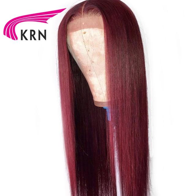 KRN 99J Ombre Pre arrancó 13x4 Frontal de encaje de cabello humano pelucas con minimechones recto pelo brasileño remy del pelo remy pelucas de encaje 180 densidad