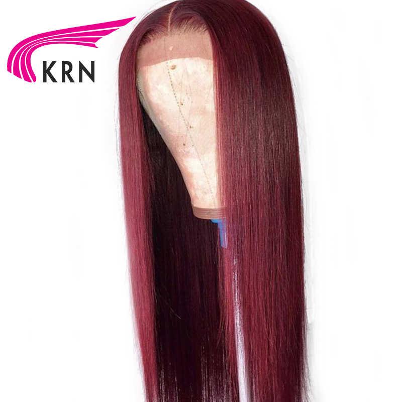 KRN 99J Омбре предварительно сорвал кружева передние человеческие волосы парики с детскими волосами прямые волосы Реми бразильские парики фронта шнурка 130 Плотность