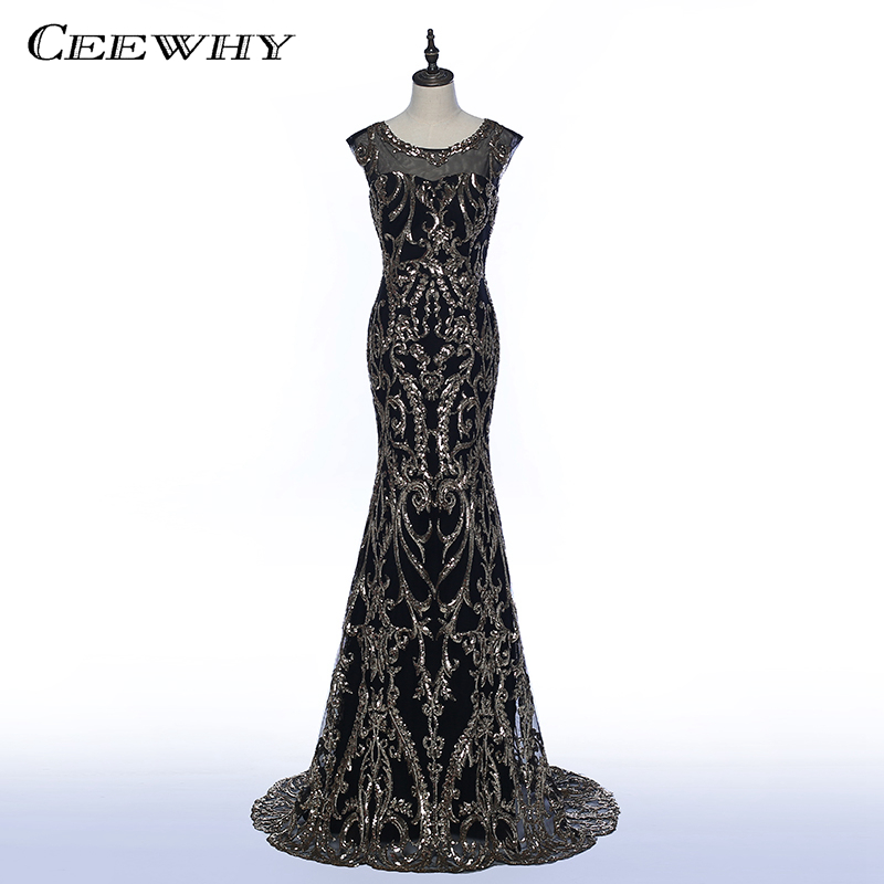 Ceewhy Formal Dress Long Black Evening Dresses Sequined Evening