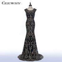 CEEWHY Formal Dress Long Black Evening Dresses Sequined Evening Gowns Prom Dress Abendkleid Lang Vestidos De