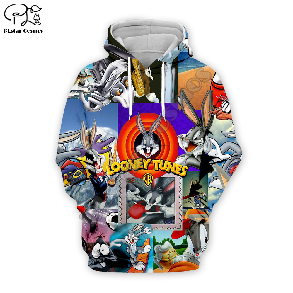 Men Looney Tunes Bugs Bunny 3d Print Hoodies Cartoon Sweatshirts Zipper Unisex Casual Pullover Autumn Harajuku Tracksuit