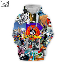 Men Looney tunes Bugs Bunny collage 3d print hoodies cartoon Sweatshirts zipper unisex casual Pullover autumn harajuku tracksuit