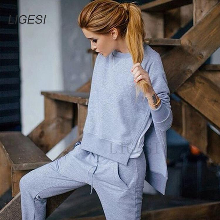 Women's Cotton Tracksuit, 2 Piece Set, Sportswear Suit, Women's Irregular Tracksuit 5