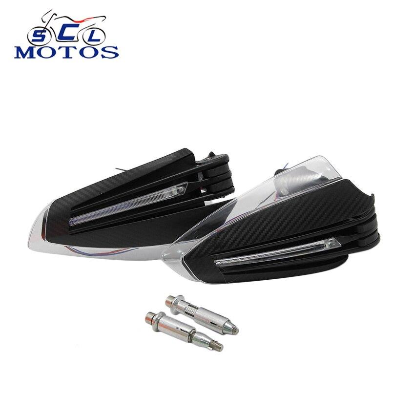 Sclmotos universel moto Handguard Motocross main gardes un ensemble combinaison poignée protecteur avec LED clignotants lumières
